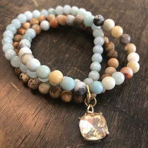 Handmade stone and crystal bracelet